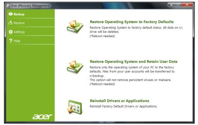 acer recovery key
